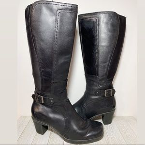 Clarks Black Leather Knee High Boots with Buckle